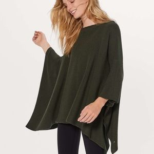 Lululemon Wool Be Cozy Poncho in Dark Olive